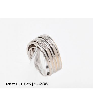 1-1-236-1-ANILLO ORO BLANCO QUINTUPLE ARO CON CHISPITAS (18 mm) (diamantes) L1775