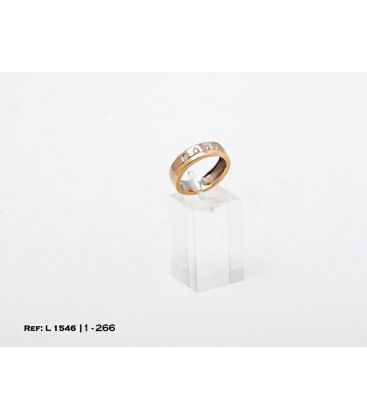 1-1-266-1-ANILLO BICOLOR ESTILO ALIANZA CON DIAMANTES (18 mm) L1546