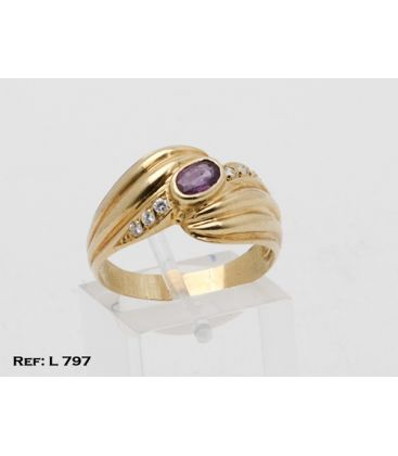 1-1-326-1-ANILLO ESTRIADO CON P. GRANATE CENTRAL L797
