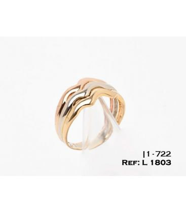 1-1-722-1-ANILLO TALLA16 TRICOLOR TRIPLE ARO ONDULADO (18 mm) L1803
