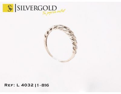 Anillo oro blanco gallonado diagonal diamante(T. 20) L4032
