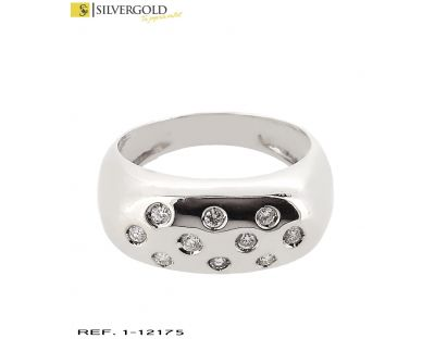 D-Anillo oro blanco 18Kt. y diamantes