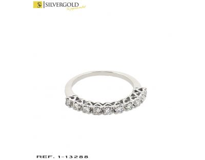 D-Anillo oro blanco 18Kt. y 10 diamantes
