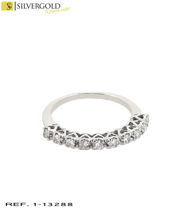 1-1-13288-1-D-Anillo oro blanco 18Kt. y 10 diamantes