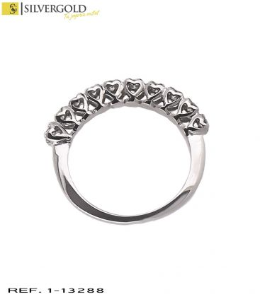 1-1-13288-2-D-Anillo oro blanco 18Kt. y 10 diamantes