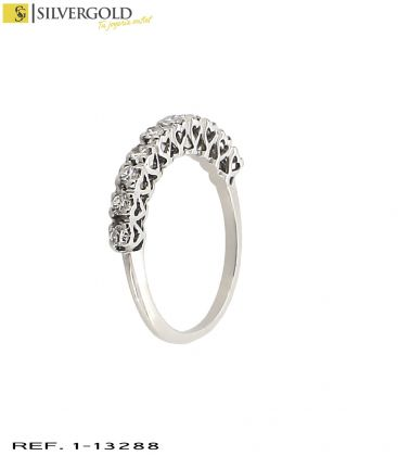 1-1-13288-3-D-Anillo oro blanco 18Kt. y 10 diamantes