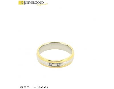 D-Anillo oro bicolor 18Kt. con diamantes