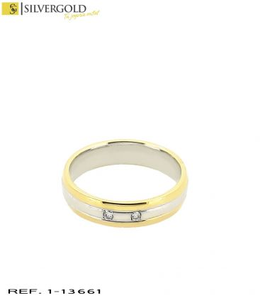 1-1-13661-1-D-Anillo oro bicolor 18Kt. con diamantes