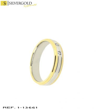 1-1-13661-2-D-Anillo oro bicolor 18Kt. con diamantes