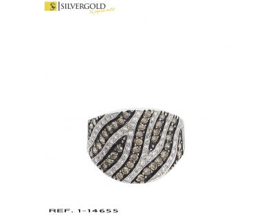 D-Anillo oro blanco 18Kt.y diamantes