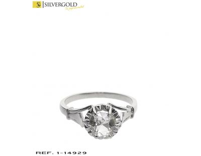 D-Anillo oro blanco 18Kt. estio solitario con diamante