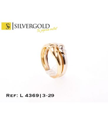 1-3-29-1-L 4369 Anillo bicolor doble aro con gallonado central. Oro 18 Kt. Talla 13.