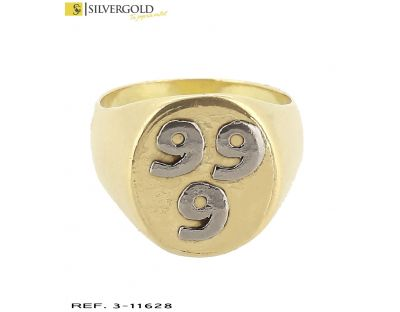 Anillo T19 estilo sello con tres seises en relieve en oro blanco