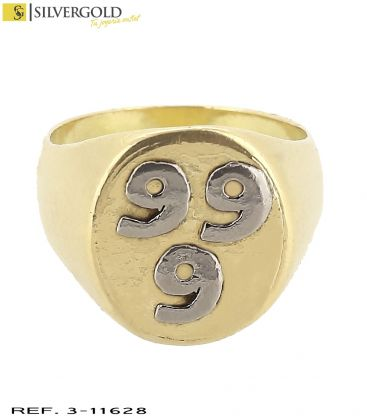 1-3-11628-1-Anillo T19 estilo sello con tres seises en relieve en oro blanco