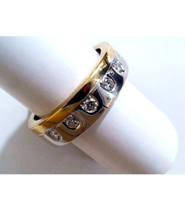1-1-266-2-ANILLO BICOLOR ESTILO ALIANZA CON DIAMANTES (18 mm) L1546