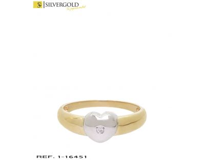 D-Anillo oro bicolor 18Kt. con diamante