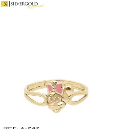 1-4-742-1-Anillo infantil oro 18Kt. Minie mouse