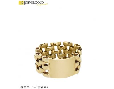 I-Anillo oro 18 Kt. tipo sello con aro flexible