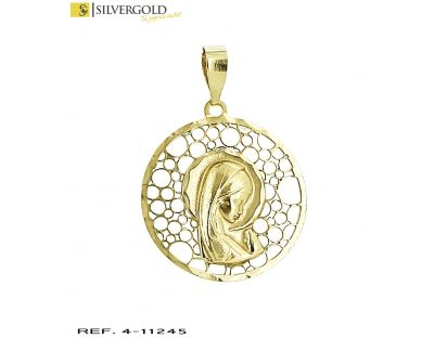 Medalla oro 18Kt. con virgen en relieve