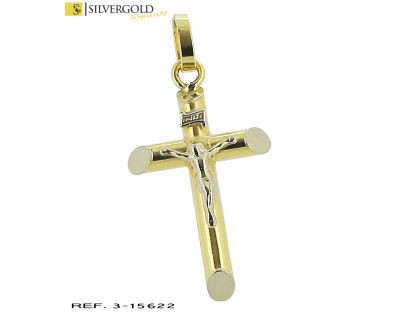 Crucifijo oro bicolor 18Kt. cristo relieve