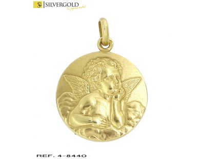 Medalla oro 18Kt. con angel de la guarda en relieve