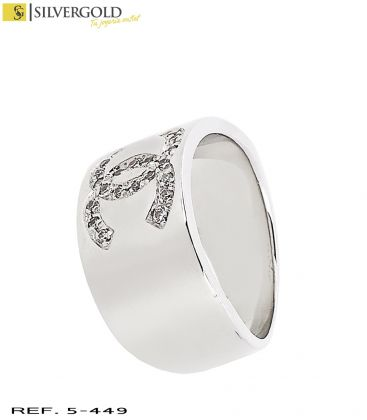 1-5-449-4-DIA-Anillo oro blanco 18Kt. Chanel con diamantes L4003