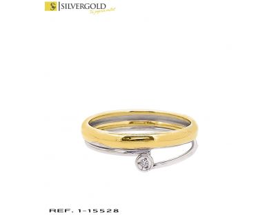 DIA-Anillo oro bicolor 18Kt. con diamante