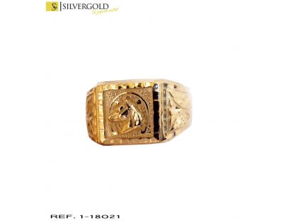 Sello oro 18Kt. labrado con herradura y caballo en relieve