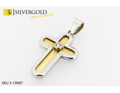 DIA-Cruz de relieve en oro blanco con diamante central. Oro 18 kt.