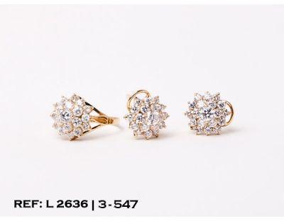 4e9ed06cd8b5 Conjunto 2 piezas oro 18Kt. de anillo y pendientes con rosetón de  circonitas en piramide sobre garras